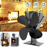 IPRee® 8,8 polegadas 4 lâminas Ventilador de lareira Ventilador de queimador de madeira Ventilador de energia térmica de inverno e ecológico silencioso
