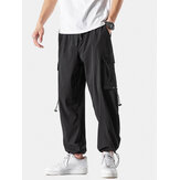 Mens Solid Cargo Style Drawstring Cuff Pants With Flap Pocket