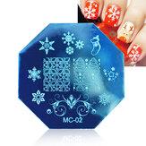 Dancingnail Christmas Chiodo Piastra di timbratura Immagine Template Template Manicure Stencil Babbo Natale