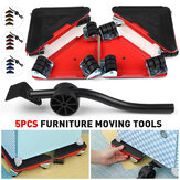 5pcs Heavy Duty Furniture Slider Lifter Movers Tool Kit Roller Transport Trolley
