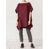 Plus Size Casual Short Sleeve Solid Color Pockets Blouse
