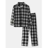 Ensemble de pyjama confortable à manches longues à manches longues et à carreaux en coton pour hommes
