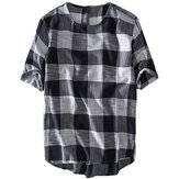 Mens Plaid Cotton Casual Loose T-Shirts Summer Tops