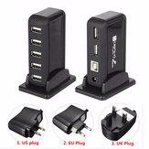 HOT Ampliación de concentrador múltiple de alta velocidad USB 2.0 de 7 puertos con adaptador de corriente