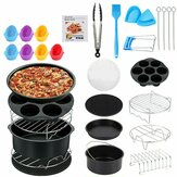 131Pcs 7/8/9 inch Air Fryer Frying Baking Pan Rack Tray Oven Barbecue Accessories Set