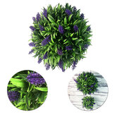 Artificial Lavender Long Leaf Topiary Flower Ball Hanging Basket Plant Garden Home Decor