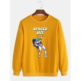 Cotton Mens Funny Astronaut Pattern Letter Print Pullover Long Sleeve Casual Sweatshirts