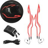 4-en-1 casque amélioré nuit équitation lumière froide étanche moto Signal bande clignotante LED bande d'autocollant lumineux chargeur USB