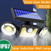 1PC/2PCS 3 Head LED Solar Light PIR Motion Sensor Rotable Wall Lamp Outdoor Garden Waterproof Street Lighting