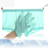 Sexy Thin Translucent Ademende Ice Silk lage taille U Convex Boxers Briefs for Men