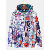 Grappige Allover Halloween Pattern Print Drawing Hoodies voor heren met Kangoeroezak
