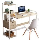 Computador Laptop Mesa Escrita Mesa de Estudo Estante de Trabalho Área de Trabalho com Prateleira de Armazenamento Gavetas Móveis para Escritório em Casa
