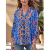 Women Ethnic Style Tribal Print V-Neck Long Sleeve Vintage Blouses