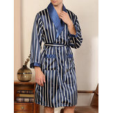 Mens Striped Lapel Double Pocket Robe & Shorts Two Piece Home Cozy Robe Pajama Set With Sashes