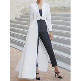 Women Solid Color Swallowtail Pendulum Long Blouse Coats