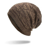 Winter Plaid Plus Velvet Earmuffs Knitted Sweater Hat