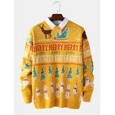 Navidad para hombre carta dibujos animados tejer gráficos pulóver manga larga suéteres casuales