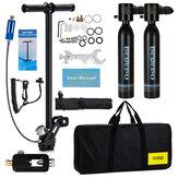 2x0.5L DEDEPU Schwarzer Tauchtank Mini-Tauchbehälter Luft-Sauerstoffflasche Unterwasser-Tauchset mit Adapter und Aufbewahrungsbox Tauchset Ausrüstung 11 In 1