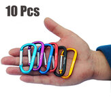 10Pcs Aluminum Buckles Outdoor Camping Multi-function Hooks Key Chain Carabiner Tools