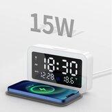 Bakeey 6 em 1 LED Alarme digital Relógio com 15W Fast Wireless Charging Pad / Night Lights / 12 / 24H SnoozeTime Display / Date Display / Termômetro Display para quarto Office Meeting Travel
