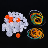 84pcs Pulley Plastic Gears Kit Rubber Band Pulley Belt Shaft Robot Motor Bevel Set