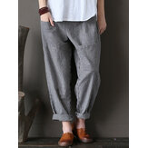 Pantalon rayé décontracté à taille élastique pour femmes