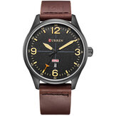 CURREN 8265 Men Sport Watch Military Couro Week Day Display Strap Casual Relógio de pulso de quartzo