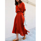 Women Solid Color Tie Waist Short Sleeve Casual Maxi Dress