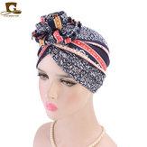 Women Cotton Floral Chemo Turban Cap Bohemian Style Beanie