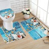 3 STÜCKE Set Blau Ozean Stil Bad Set Sockel Teppich Deckel Wc-abdeckung Badematte