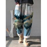 Women Landscape Print Corduroy Elastic Waist Loose Casual Vintage Pants