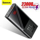 Baseus 22.5W PD QC3.0 AFC SCP 10000mAh 20000mAh Power Bank External Battery Charger LED Digital Display For iPhone 12 12 Mini 12 Pro Max for Samsung Galaxy Note S20 Ultra Huawei Mate40 OnePlus 8 Pro