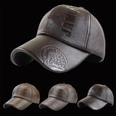 Collrown Men PU Leather Retro Baseball Cap Dicetak Dengan Logo Topi Hangat Luar Ruangan