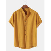 Mens Solid Color Brief Style Round Neck Short Sleeve Henley Shirt
