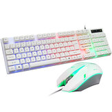 104 Keys Wired Keyboard and Mouse Set Rainbow Backlight USB 1000DPI Gaming Keyboard for Home Office Computer Supplies