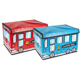 1.8L Waterproof Bus Shape Children Kids Toys Storage Box Foldable Non-woven Cartoon Car Pattern Toys Basket