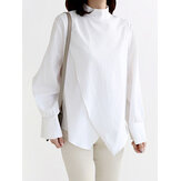 Wrap Stitching Zip Back Stand Collar Casual Long Sleeve Blouses For Women