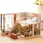 Cuteroom Doll House Miniatuur DIY Dollhouse Met Furnitures Houten Huis Wachten Tijd Speelgoed Voor Kind