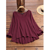 Women Cotton Solid Color O-Neck High Low Hem Blouse