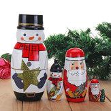 5PCSロシアの木製ネストMatryoshkaの人形手作りの装飾クリスマスの贈り物