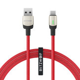 BlitzWolf®BW-TC21 3A LED Type-C Cable Nylon Braided Fast Charging Data Cable 3.3ft/6.6ft with 22 AWG Power + 29 AWG Data for Samsung S20 9T Note8 Huawei LG