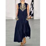 Чехол без рукавов с цветочным принтом Bohemian Maxi Платье