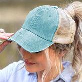 女性の綿の無地の通気性のあるメッシュの十字形の聖霊降臨祭の野球帽