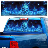 Car Window Sticker Wall Decal Waterproof PVC Blue Flaming Skull Truck Decor