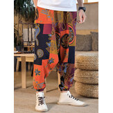 Men's Bohemian Harem Pants Indian Ethnic Printed Trouser Baggy Gypsy Yoga Bottom