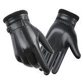 Heren lederen handschoenen van schapenvacht Herfst Winter Warm touchscreen met volledige vinger zwarte handschoenen