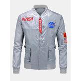 Bomber casual da uomo con colletto alla coreana con patta e stampa a lettera della NASA
