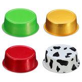 100Pcs / Set Round Alluminio Cup Cake Cup Riutilizzabile muffa muffin con coperchio