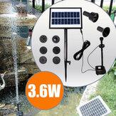 9V 3.6W Năng lượng mặt trời Máy bơm nước không chổi than DC Đài phun nước sân vườn với đèn LED trắng