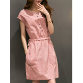 Women Casual Retro Short Sleeve Dress